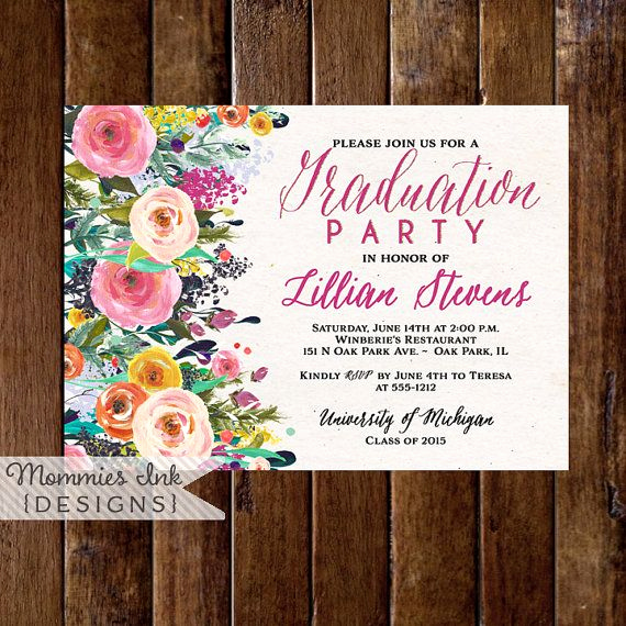 Graduation Open House Invitation Ideas Luxury Graduation Party Invitation Watercolor Flowers Invitation