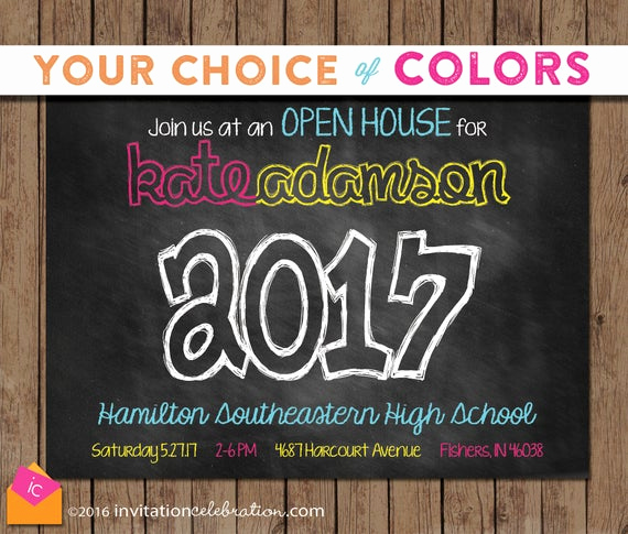 Graduation Open House Invitation Inspirational Chalkboard Graduation Invitation Open House Printable