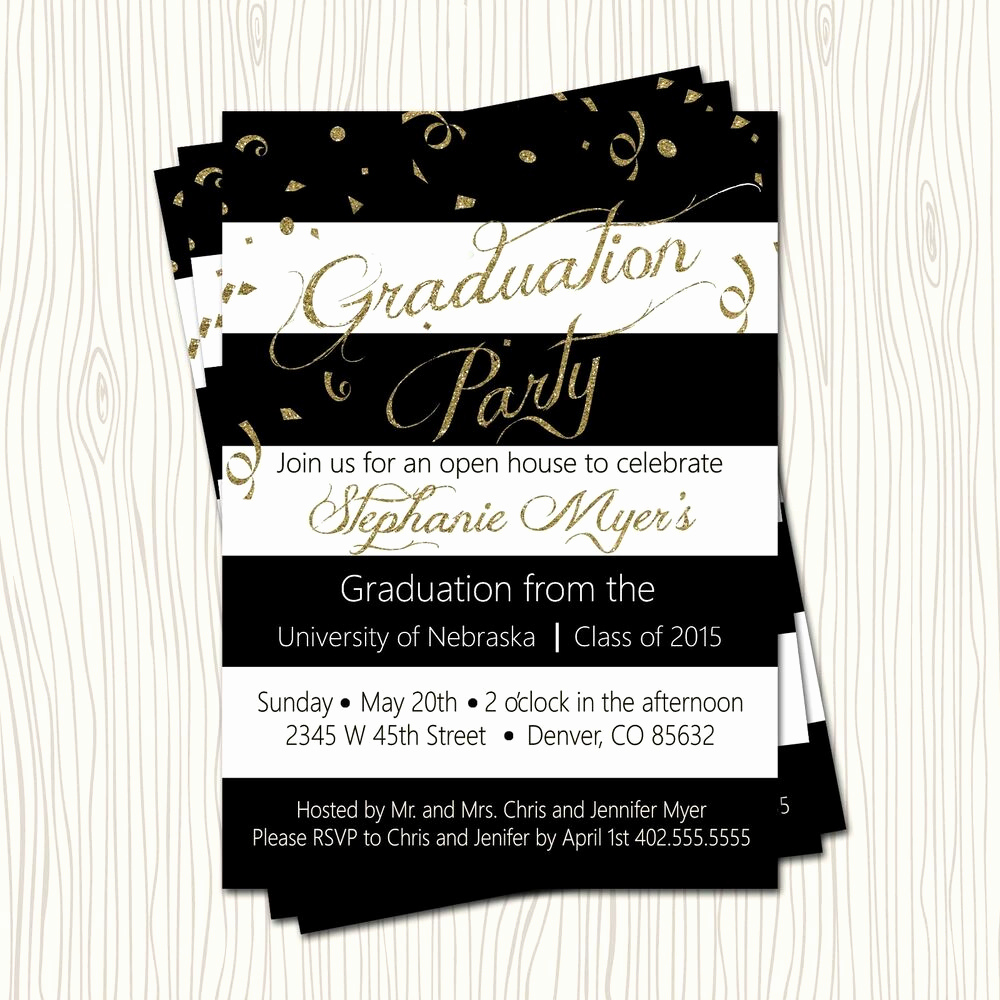 Graduation Open House Invitation Luxury Gold Glitter Black High School College Graduation Party