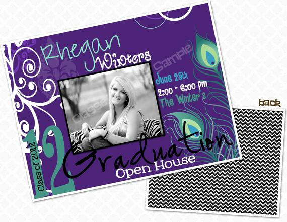 Graduation Open House Invitation New Items Similar to Peacock Feathers Graduation Party Invite
