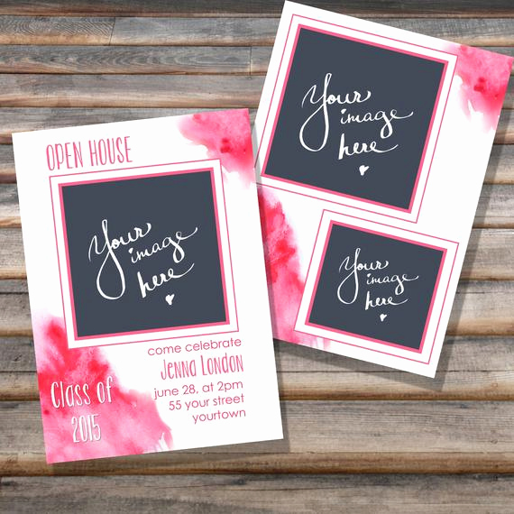 Graduation Open House Invitation Templates Inspirational Watercolor Pink Graduation Open House Invitation Psd