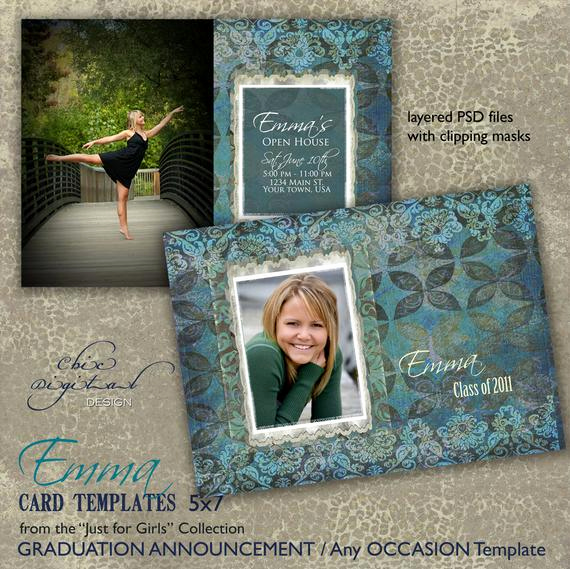 Graduation Open House Invitation Templates Luxury Graduation Announcement Card Template for Graphers 5x7