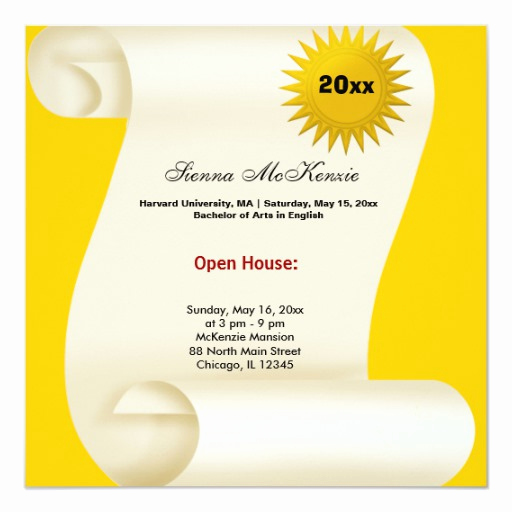 Graduation Open House Invitation Wording Awesome Graduation Open House Yellow Invitation