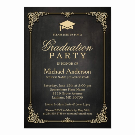 Graduation Party Invitation Cards Awesome Elegant Black Gold Vintage Frame Graduation Party Card