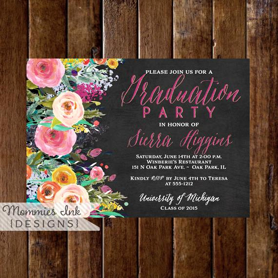 graduation party invitation watercolor