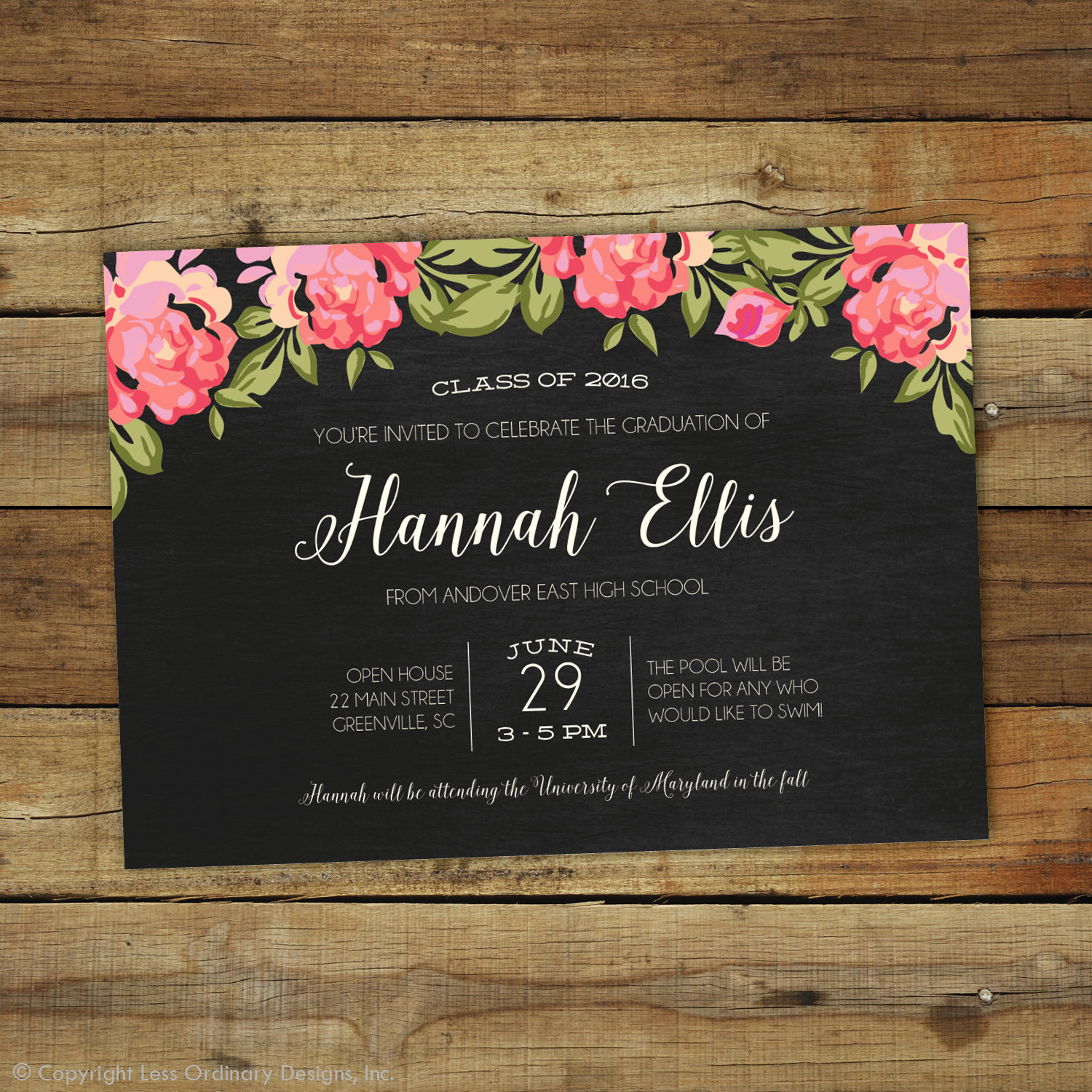 Graduation Party Invitation Cards Lovely 2017 Graduation Party Invitation Floral Graduation Open House