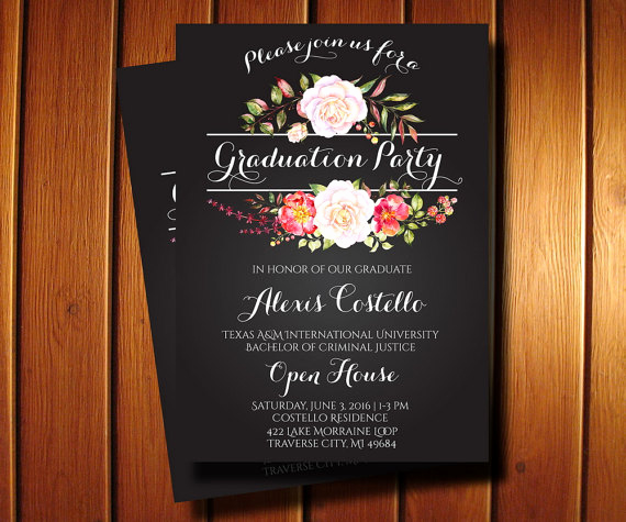 Graduation Party Invitation Cards Lovely Floral Graduation Invitation Printable Floral Chalkboard