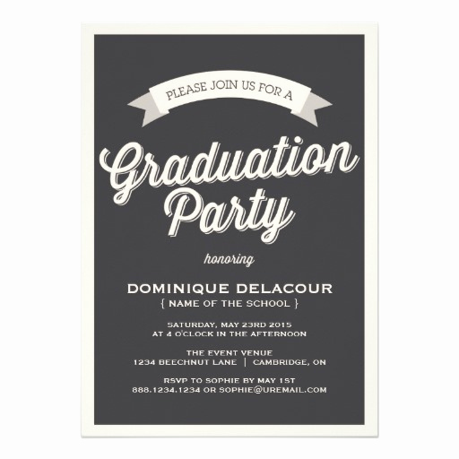 Graduation Party Invitation Cards Lovely Gray Retro Typography Graduation Party Invitation Card