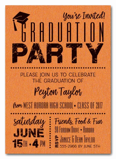 Graduation Party Invitation Cards Lovely Shimmery orange Dotted Graduation Party Invitations