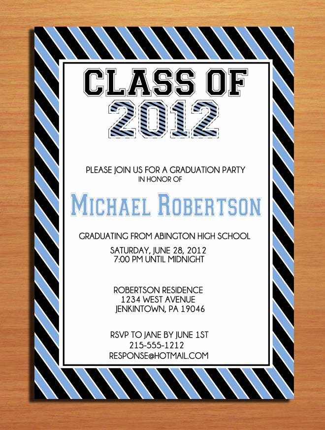 Graduation Party Invitation Cards New Collegeiate Stripes Graduation Party Invitation Cards