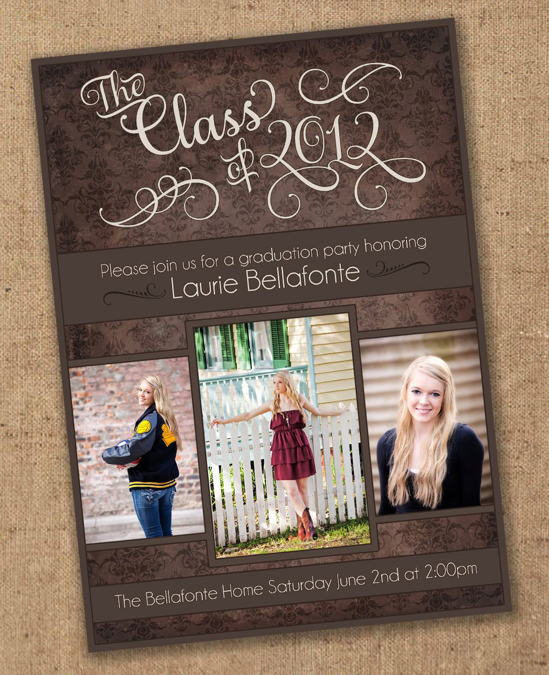 Graduation Party Invitation Ideas Best Of Damask Graduation Invitation Printable $15 00 Via Etsy