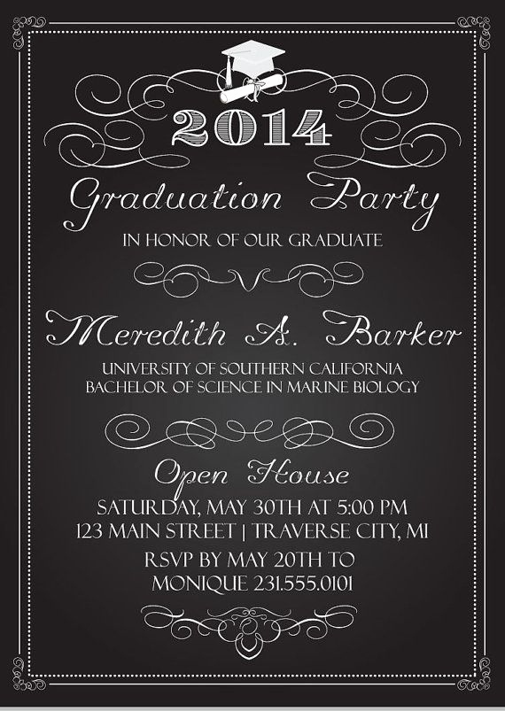 Graduation Party Invitation Ideas Fresh Chalkboard Graduation Party Invitations Graduation