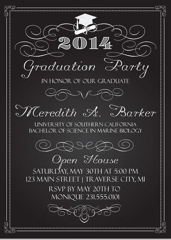 Graduation Party Invitation Ideas Fresh Chalkboard Graduation Party Invitations Graduation