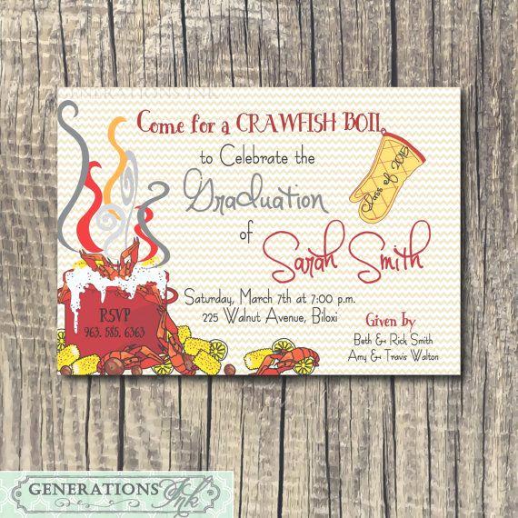 Graduation Party Invitation Maker Unique Crawfish Boil Graduation Party Invitation Printable