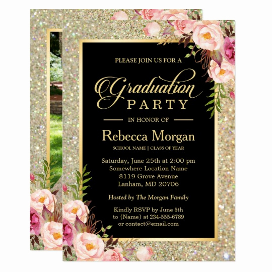 Graduation Party Invitation Maker Unique Gold Glitters Floral 2019 Graduation Party