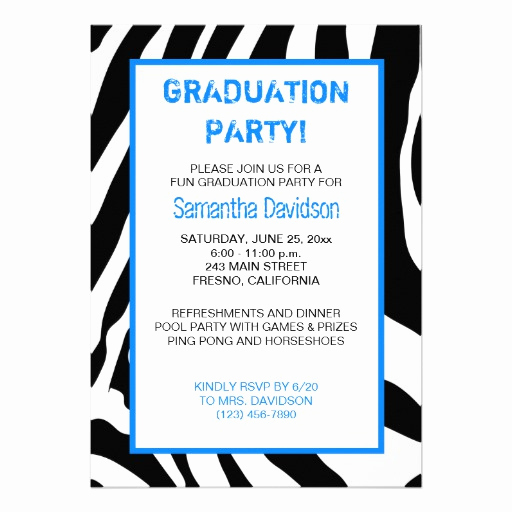 "Graduation Party Invitation Sayings Fresh Zebra Stripe Graduation Party Invitation Blue 5"" X 7"
