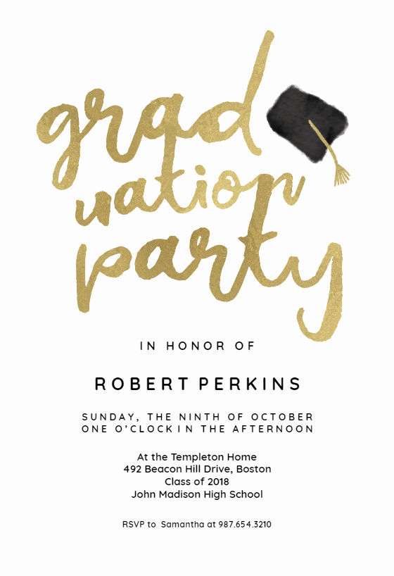 Graduation Party Invitation Templates Fresh Hats Off Graduation Party Invitation Template Free