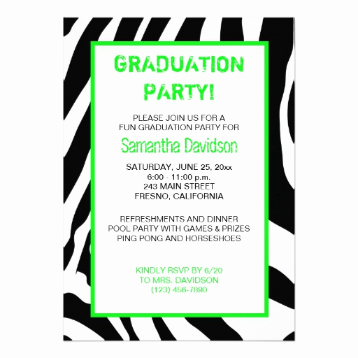 "Graduation Party Invitation Text Beautiful Zebra Stripe Graduation Party Invitation Green 5"" X 7"