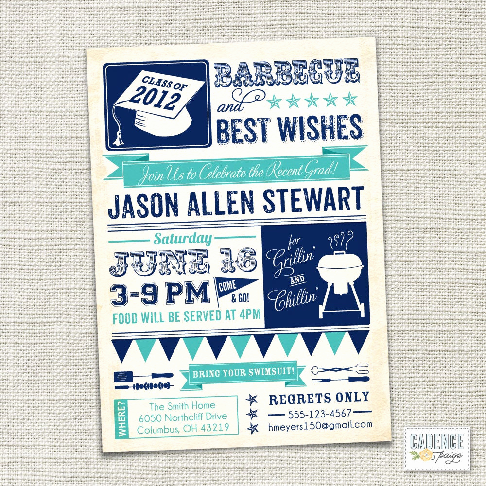 Graduation Party Invitation Wording Best Of Items Similar to Graduation Party Invitation Bbq