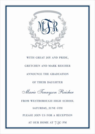Graduation Party Invitation Wording Ideas Lovely formal High School Graduation Announcement Wording