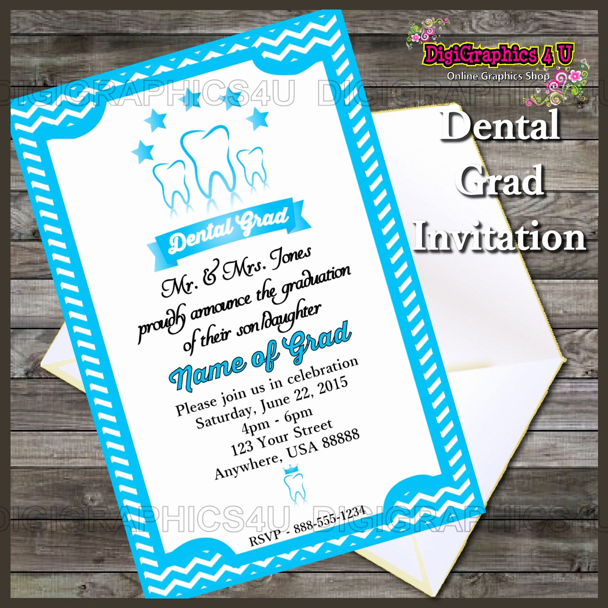 Graduation Party Invitation Wording Inspirational Printable Dental Graduation Party Invitation by Digigraphics4u