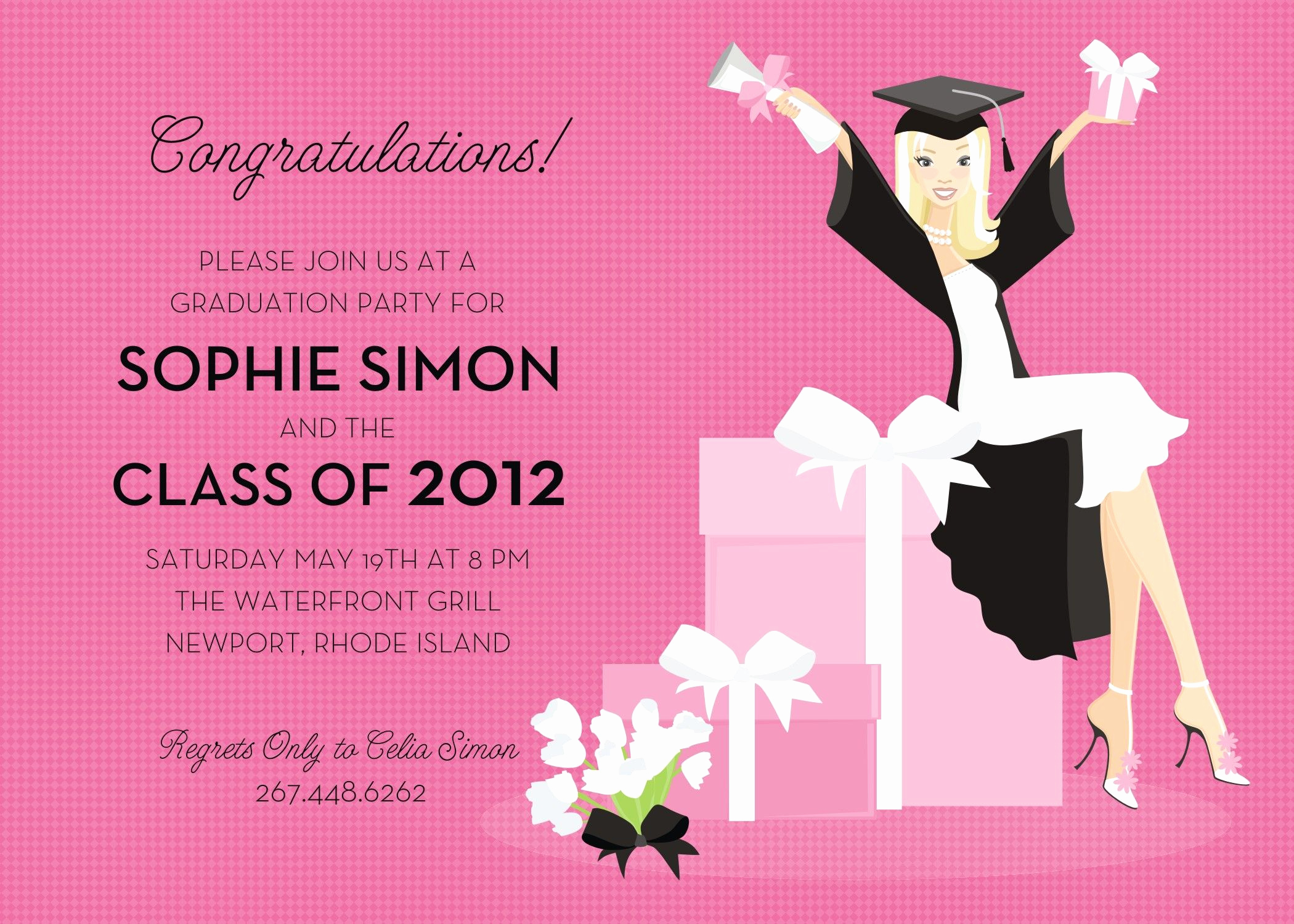 Graduation Party Invitation Wording Inspirational This Invitation Features A Stylish Grad Girl Sitting On A