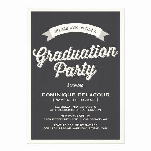 Graduation Party Invitation Wording Samples Beautiful Gray Retro Typography Graduation Party Invitation Card