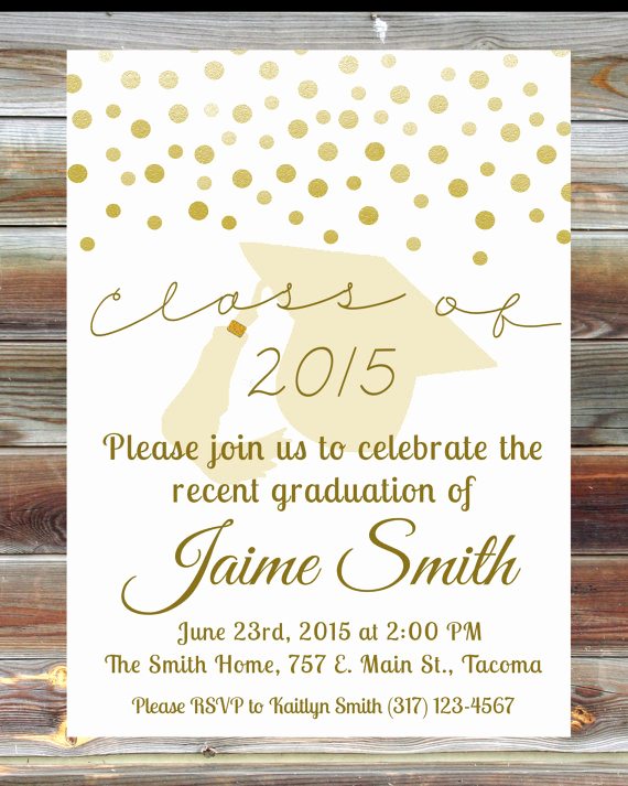 Graduation Reception Invitation Wording Unique Gold Graduation Open House Invitation Custom Graduation
