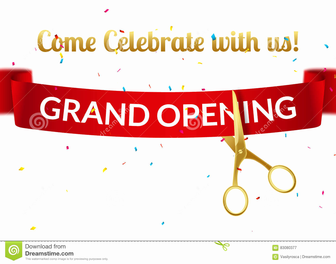 Grand Opening Invitation Template Unique Grand Opening Design Template with Ribbon and Scissors