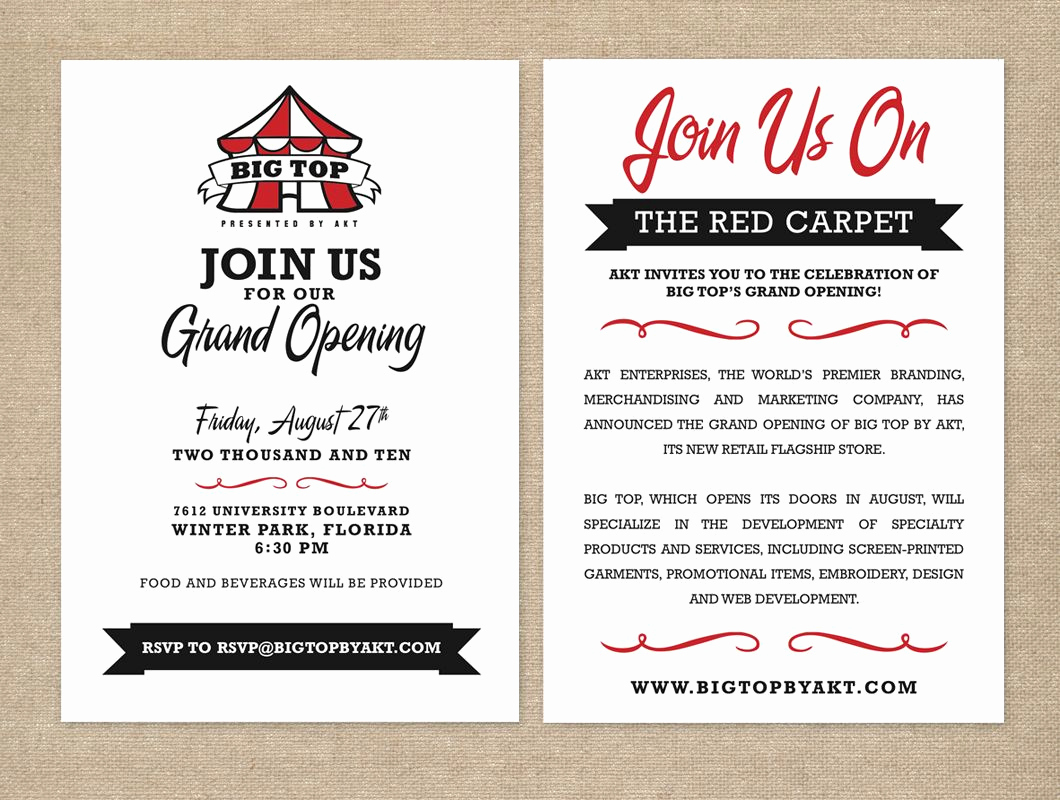 Grand Opening Invitation Wording Luxury Big top by Akt Grand Opening Party Invitation