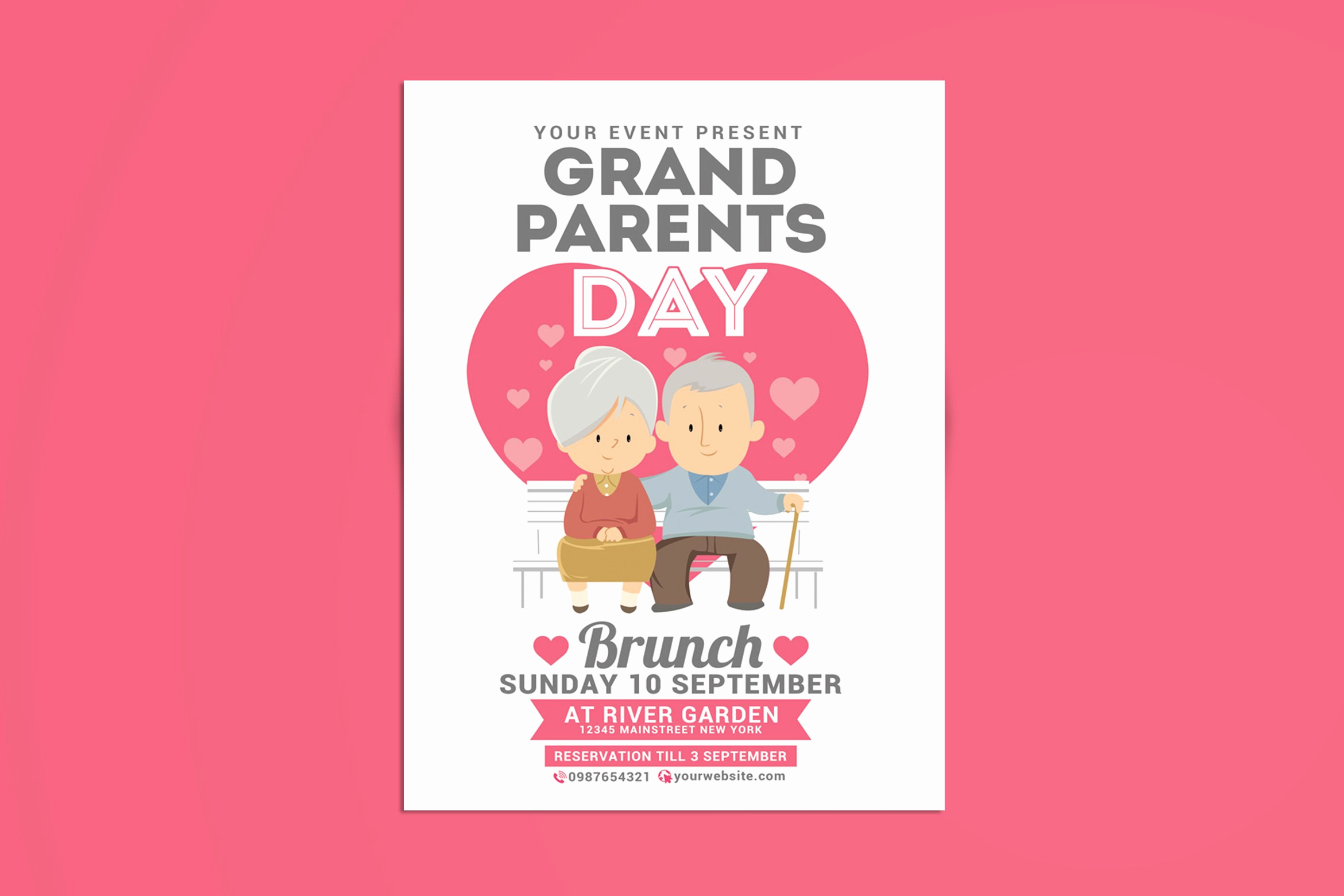Grandparents Day Invitation Template Awesome Grandparents Day Brunch Flyer Templates Creative Market