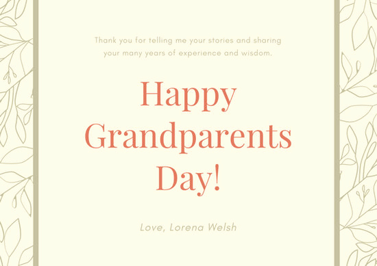 Grandparents Day Invitation Template New Customize 45 Grandparents Day Card Templates Online Canva