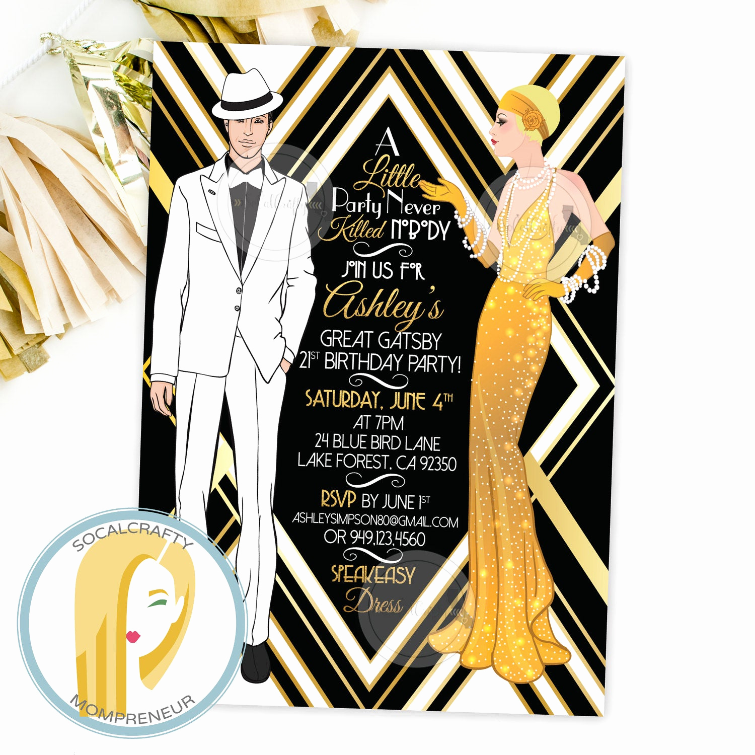 Great Gatsby Invitation Ideas Awesome Great Gatsby Birthday Party Invitation Gatsby Invitation