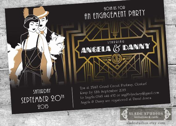 Great Gatsby Invitation Ideas Awesome Great Gatsby Engagement Party Invitations Movie Poster Style