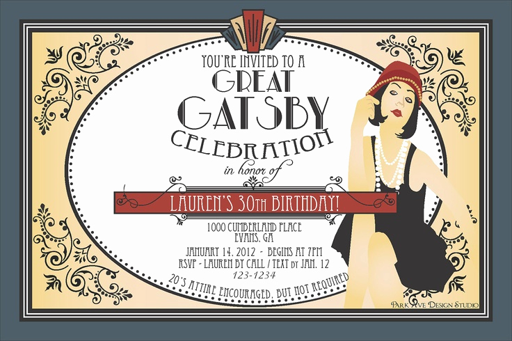 Great Gatsby Invitation Ideas Lovely Roaring 1920 S Flapper Great Gatsby Printable Party