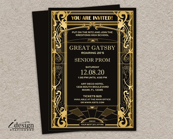 Great Gatsby Invitation Template Awesome Great Gatsby Prom Invitation Diy Printable Vintage Art Deco