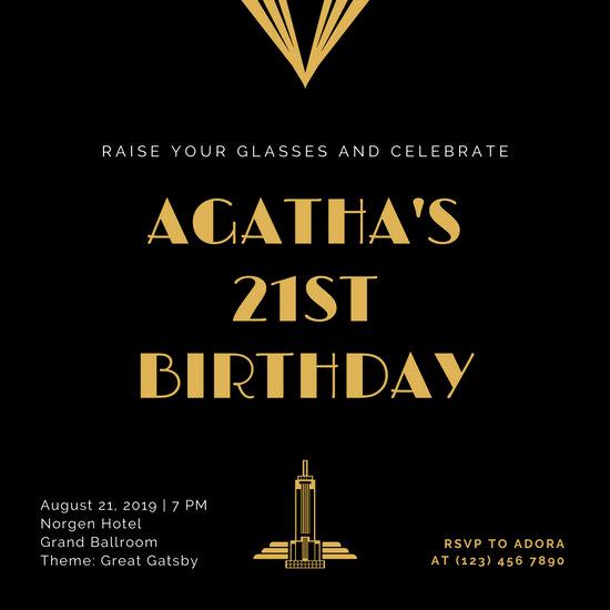 Great Gatsby Invitation Template Beautiful Customize 52 Great Gatsby Invitation Templates Online Canva