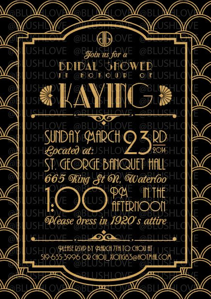 Great Gatsby Invitation Template Beautiful Great Gatsby Bridal Shower Invitation Digital File by