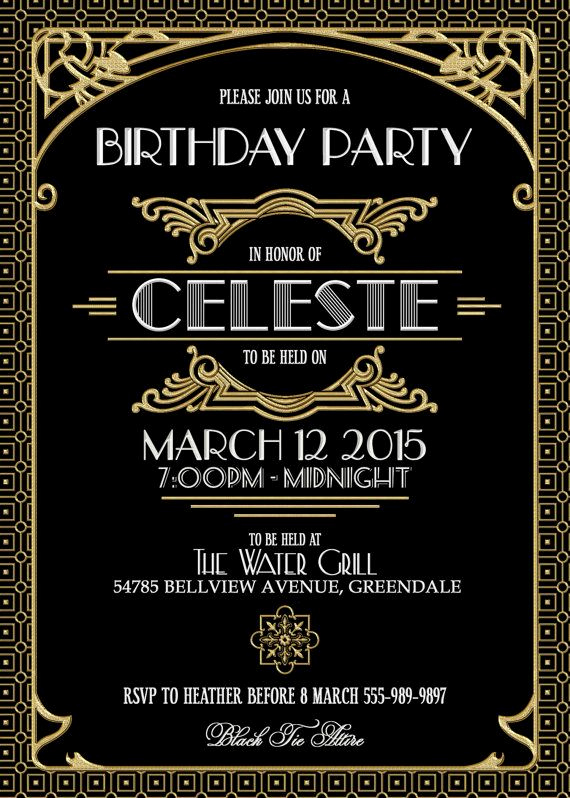 Great Gatsby Invitation Template Elegant Really Like This Invitation Gatsby Black and Gold