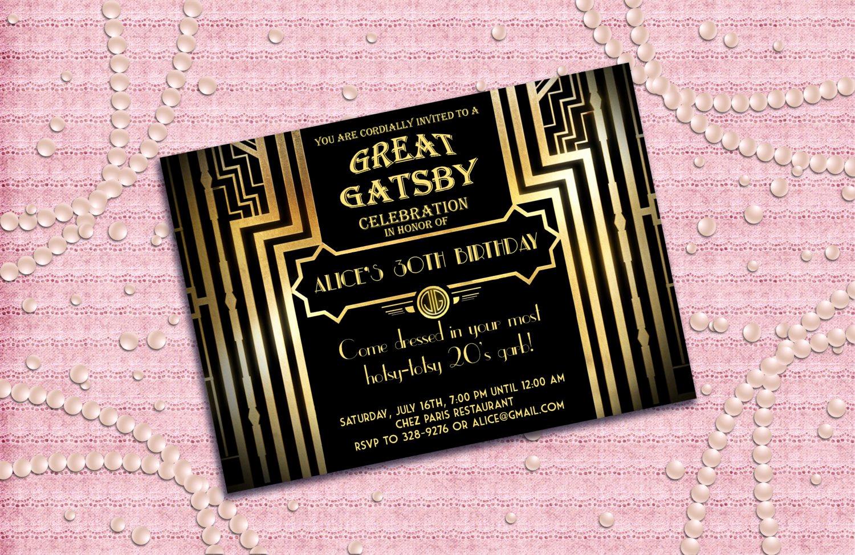 Great Gatsby Invitation Template Fresh Great Gatsby Birthday Party Invitations