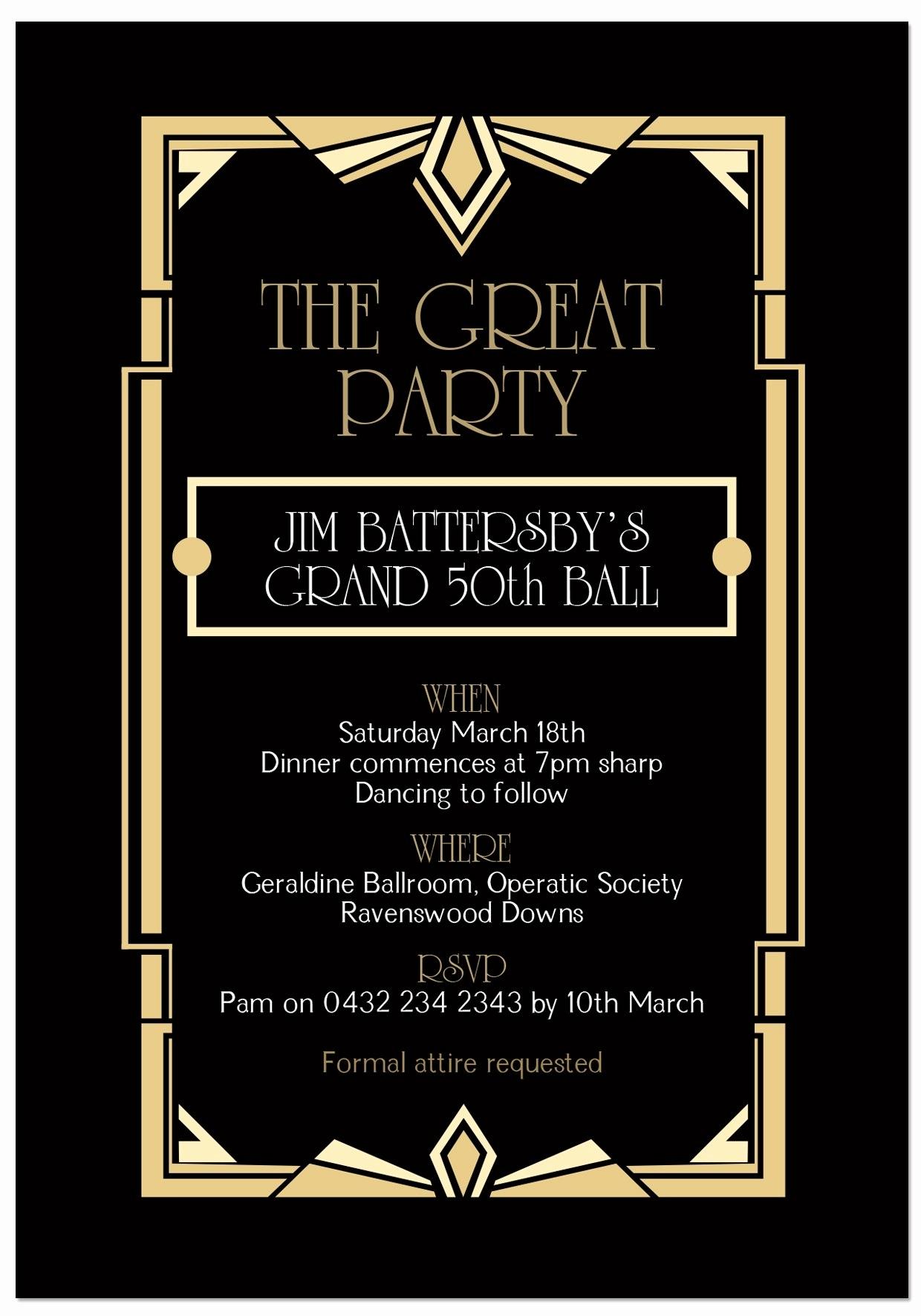 Great Gatsby Invitation Template Fresh Great Gatsby Invitation Template 2018