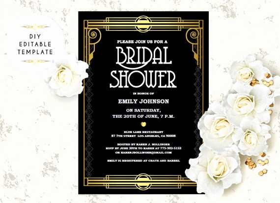 Great Gatsby Invitation Template Lovely Bridal Shower Invitation Template Diy Great Gatsby Bridal
