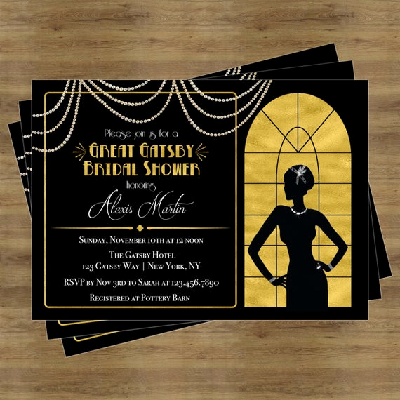 Great Gatsby Invitation Template Luxury Great Gatsby Invitation Gatsby Bridal Shower Invitation