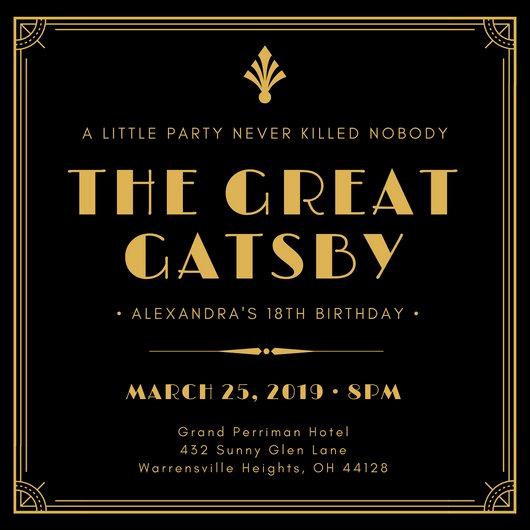 Great Gatsby Invitation Template New Customize 204 Great Gatsby Invitation Templates Online