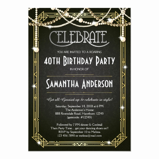 Great Gatsby Invitation Template New Great Gatsby Birthday Invitation Art Deco Invite