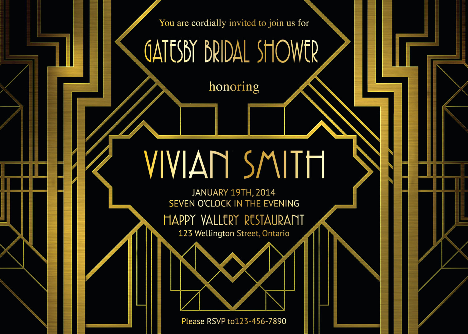 Great Gatsby Invitation Template Unique Great Gatsby Bridal Shower Invitation Art Deco Customized