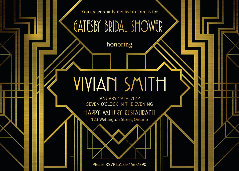 Great Gatsby Invitation Template Unique Great Gatsby Bridal Shower Invitation Art Deco Customized