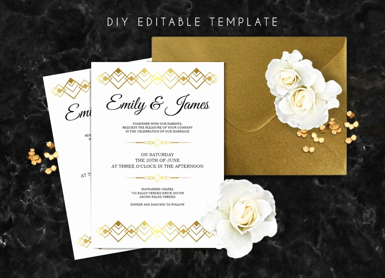 Great Gatsby Invitation Templates Awesome Editable Wedding Invitation Template Great Gatsby Wedding