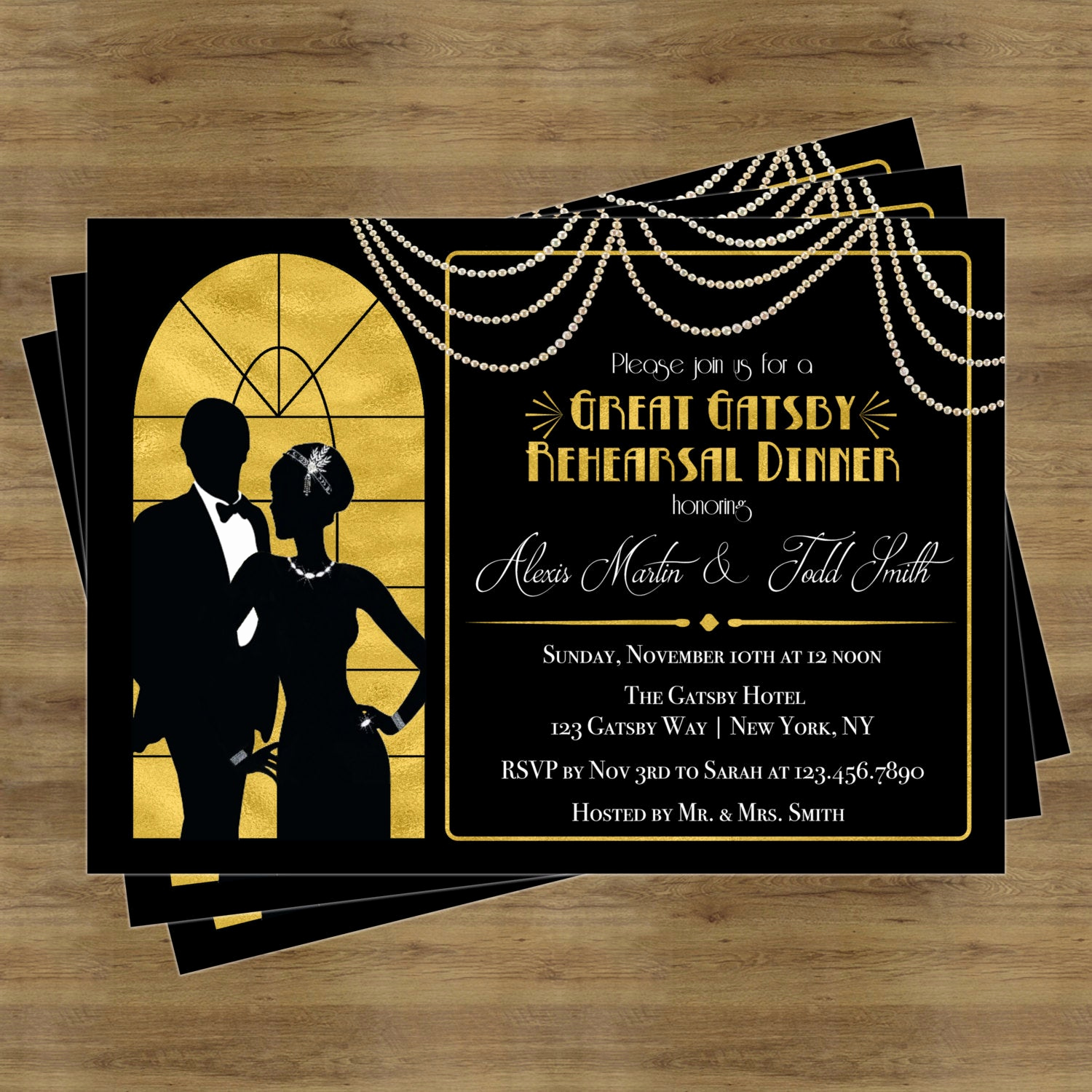Great Gatsby Invitation Templates Awesome Great Gatsby Invitation Rehearsal Dinner Invitation