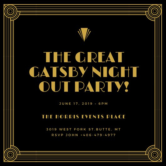 Great Gatsby Invitation Templates Beautiful Customize 202 Great Gatsby Invitation Templates Online